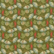 Moda - Voysey by The V&A - 6679 - Reproduction, Perching Birds on Green - 7325 18 - Cotton Fabric